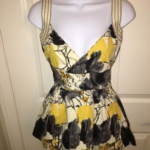 Anthropologie Viola Yellow and Grey Floral Tank